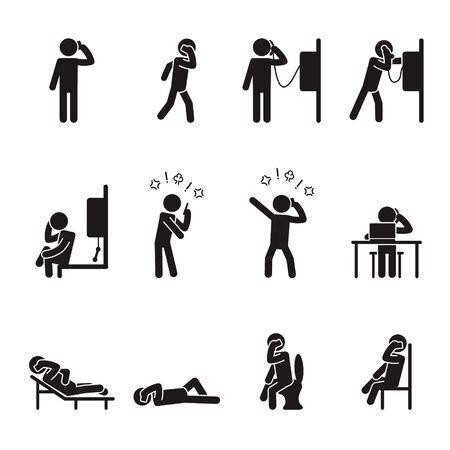 Illustration pour People talking on phone icon set male. Vector. - image libre de droit