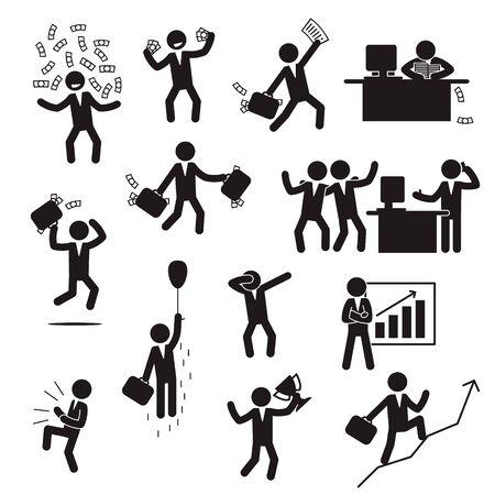 Illustration for Successful businessman icon set. Happy businessman icon set. Vector. - Royalty Free Image