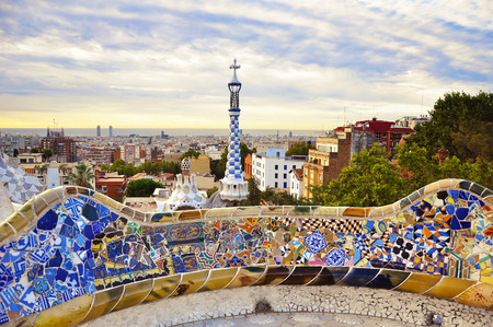 BARCELONA, SPAIN, SEPTEMBER 17, 2015: Park Guell designed by Antoni Gaudi in Barcelona in the morning sunrise, Spain