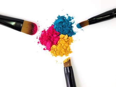 Make-up brush with colorful crushed eyeshadows の写真素材
