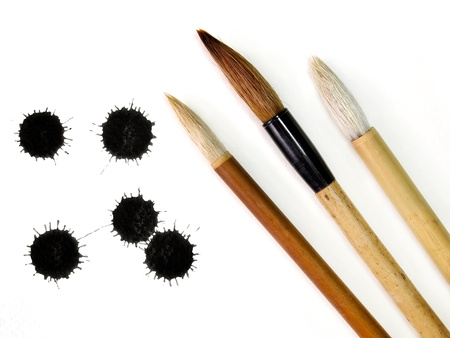 Chinese brushes with Ink splashes