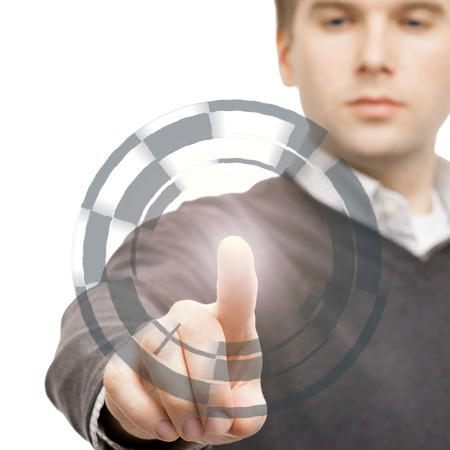 Male manipulating digital data with his finger - 1 to 1 ratio
