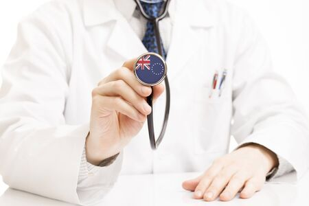 Doctor holding stethoscope with flag series - Cook Islands