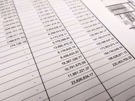Photo pour Selected focused on financial account report sheet with the figure is in Malaysian currency. Presented in tabular form to facilitate calculation and management. - image libre de droit