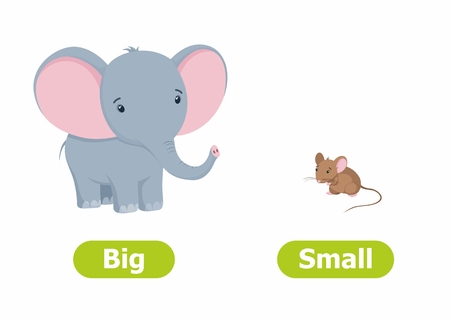 Illustration pour Vector antonyms and opposites. Cartoon characters illustration on white background. Card for children Big and Small. - image libre de droit