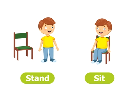 Illustration for Vector antonyms and opposites. Cartoon characters illustration on white background. For a foreign language learning. Stand and Sit. - Royalty Free Image