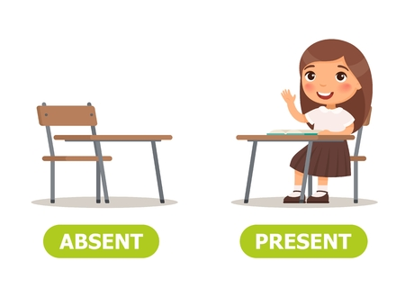 Illustration pour Vector antonyms and opposites. ABSENT and PRESENT. Card for teaching aid - image libre de droit