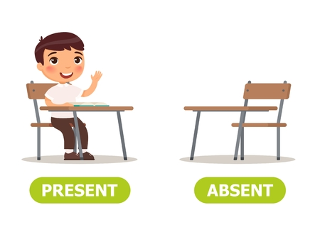 Illustration pour Vector antonyms and opposites. PRESENT and ABSENT. Card for teaching aid - image libre de droit