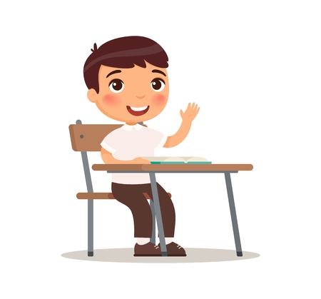 Illustration pour Schoolboy raises her hand for an answer. Vector illustration in cartoon style. Isolated on white background - image libre de droit