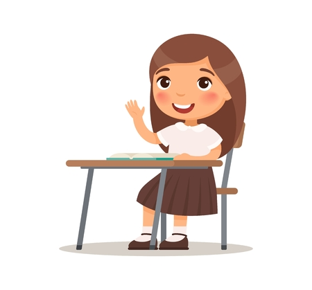 Illustration pour Schoolgirl raises her hand for an answer. Vector illustration in cartoon style. Isolated on white background - image libre de droit