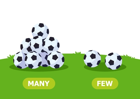 Illustration for Illustration of opposites. Lots and few soccer balls. Card for teaching aid, for a foreign language learning. Vector illustration on white background. - Royalty Free Image