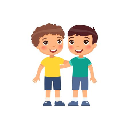 Illustration for Two little boys hugging cartoon characters. Smiling kids isolated on white background.  - Royalty Free Image