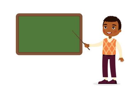 Illustration pour Dark skin male teacher standing near blackboard flat vector illustration. Smiling tutor pointing at blank chalkboard in classroom cartoon character. Educational process. School lesson tutor - image libre de droit