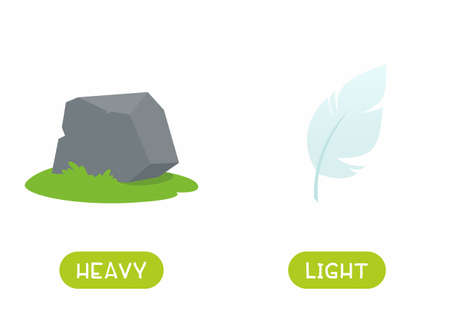 Illustration for Antonyms concept, HEAVY and LIGHT. Educational flash card with stone and feather template. Word card for english language learning with opposites. Flat vector illustration with typography - Royalty Free Image