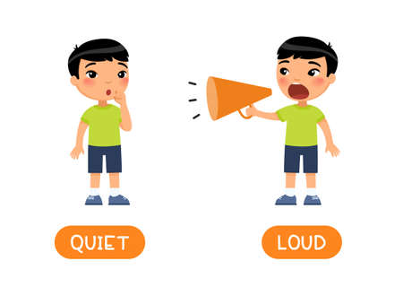 Illustration pour LOUD and QUIET antonyms word card vector template. Flashcard for english language learning. Opposites concept.  Little asian boy screams loudly into megaphone, the child whispers softly.  Illustration with typography - image libre de droit