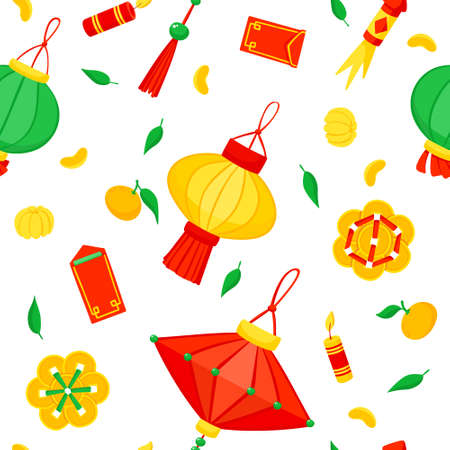 Illustration pour Chinese lanterns and fireworks flat vector festive seamless pattern. Asian annual festival celebration background. Traditional China holiday symbols texture. Oriental Lunar New Year wrapping paper - image libre de droit