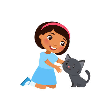 Illustration pour Cute little  girl and kitty are sitting. Happy dark skin school or preschool kid and her pet playing together. Funny cartoon characters. Vector illustration. Isolated on white background. - image libre de droit