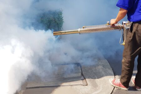 Photo pour have sprayed mosquito protection or Fumigate mosquito or Spit smoke Chase mosquitoes - image libre de droit