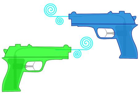 istolated plastic water guns on white