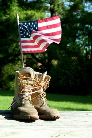 A patriotic symbol of boots and flag