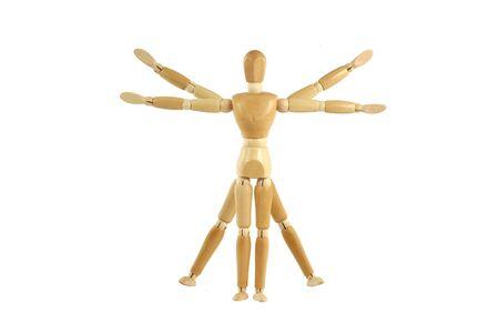 A Wooden manikin Vitruvian Man