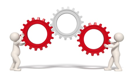 Photo pour 3d men working with gears representing teamwork and success - Isolated - image libre de droit