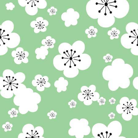Illustration pour Vector pastel green background white cherry flowers sakura, 60ies 70ies vintage hippy flowers, seamless pattern background - image libre de droit