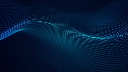 Photo for beautiful abstract wave technology background with blue light digital effect corporate concept - Royalty Free Image