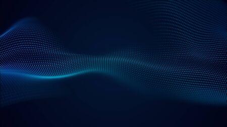 Photo pour beautiful abstract wave technology background with blue light digital effect corporate concept - image libre de droit