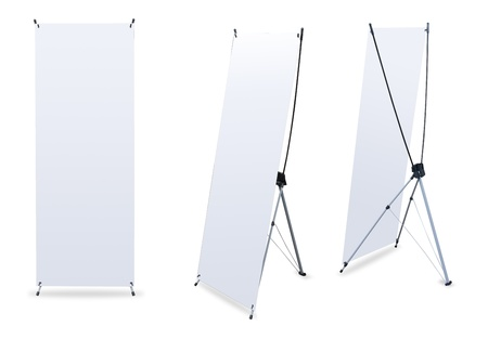 blank banner stand display (3 view) template for design work