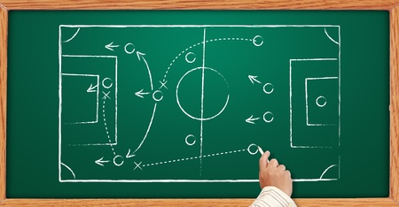 Photo pour Hand writing a soccer game strategy on a blackboard. - image libre de droit
