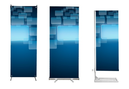 Set of banner stand display with blue touch screen interface background. (Save path for design work)