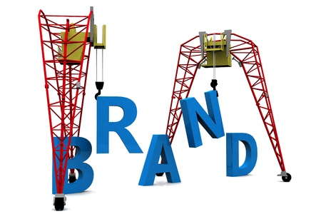 Construction site crane building a blue 3D text
