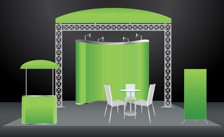 Trade Exhibition Stand Vector : Set of trade exhibition stand with cover presentation abstract