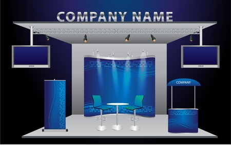 Illustration pour Vector Blank trade exhibition stand with widescreen lcd monitor, counter, chair, roll-up banner and lights with identity background ready for use   - image libre de droit