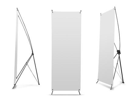 Photo pour Blank banner X-Stands tree displays for design work  - image libre de droit