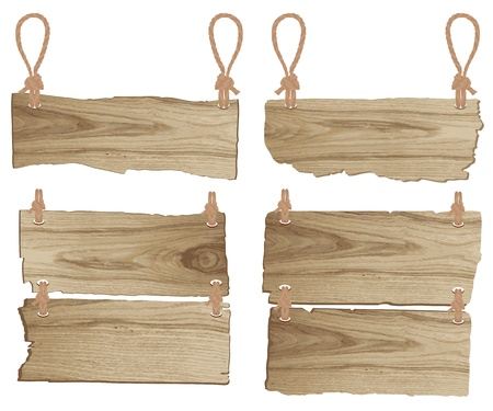 Wooden sign with rope hanging  vector illustration