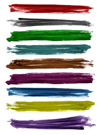 Colorful watercolor brush strokes, Vector design