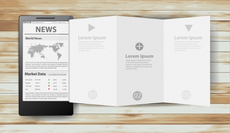 Reading newspaper with smart phone, Creative folded paper modern template design  illustration