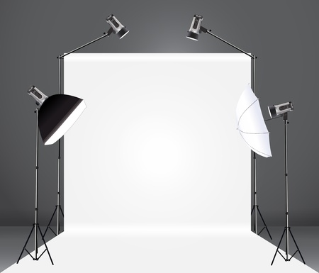 photography studio with a light set up and backdrop, Vector illustration template design