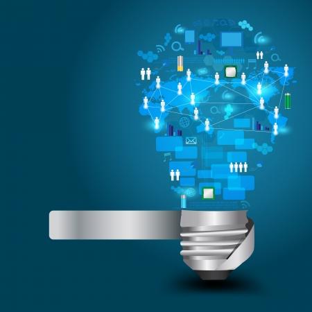 Foto de Creative light bulb with technology business Network process diagram concept idea, Vector illustration Modern template Design - Imagen libre de derechos