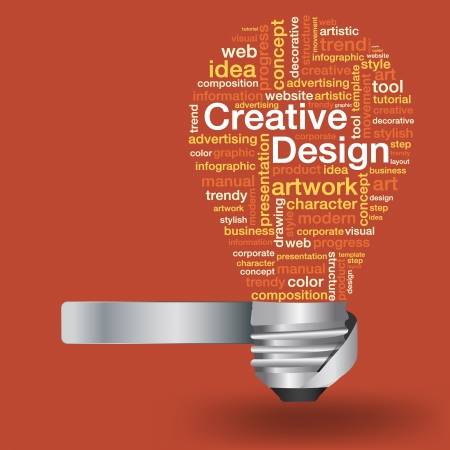Creative light bulb with creative design concept of word cloud, Vector illustration modern template design