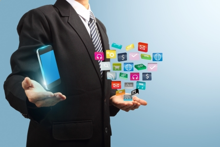 colorful application icon with mobile phone in the hands of businessmen, Business software and social media networking service concept
