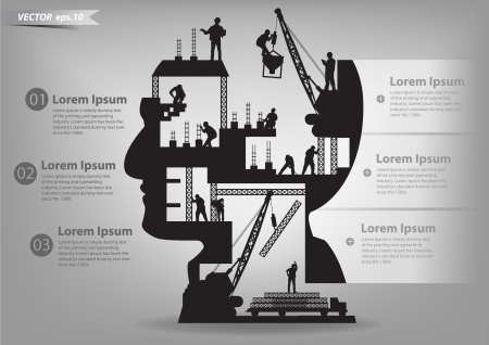 Illustration for Building under construction with workers in sIlhouette of a head, Vector illustration template design - Royalty Free Image