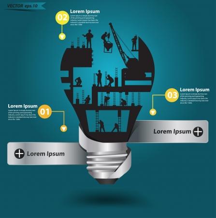 Illustration pour Creative light bulb with construction worker idea, Vector illustration modern template design - image libre de droit