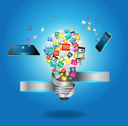 Illustration pour Creative light bulb with cloud of colorful application icon, Business software and social media networking service concept, Vector illustration modern template design  - image libre de droit