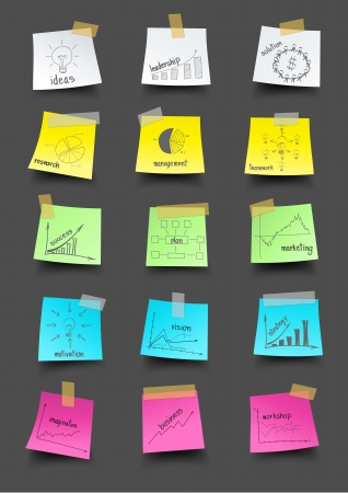 Post it note paper with drawing business plan strategy concept idea, Vector illustration template design