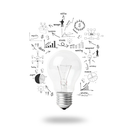 Light bulb with drawing business plan strategy concept idea, isolated on white background