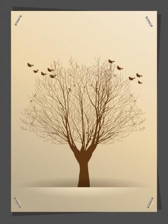 Tree silhouette banner idea concept, illustration modern template design