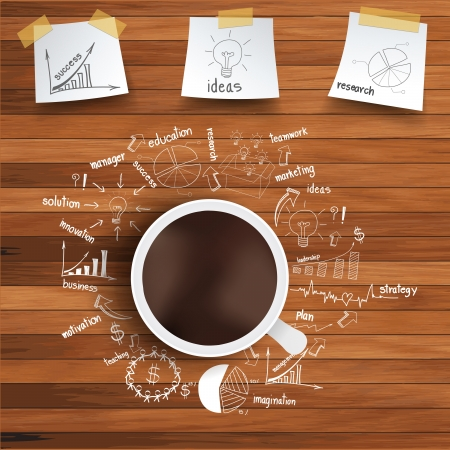 Vector coffee cup and business strategy on wooden table